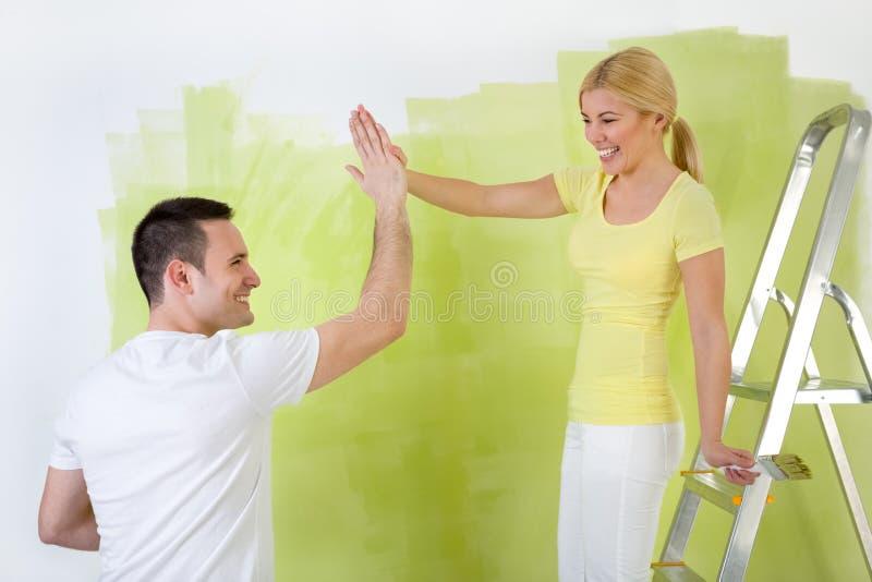 夫妇当画家工作者,配合 库存照片