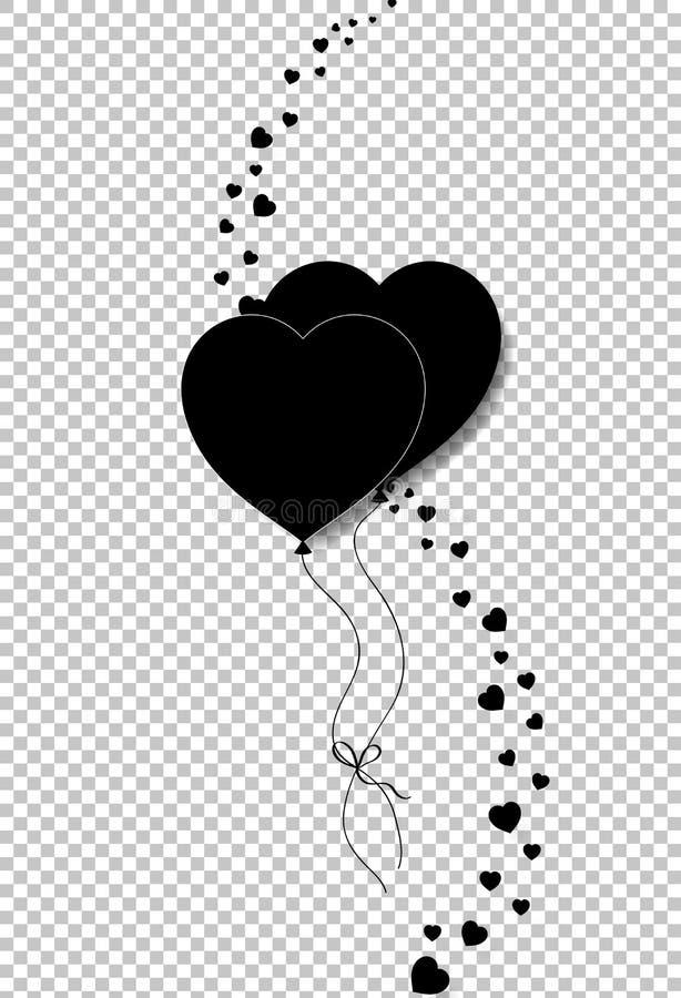 夫妇心脏气球黑剪影一起跳起了 库存例证