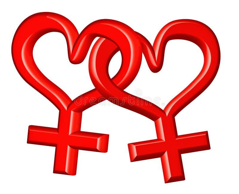 夫妇性别女同性恋者符号 皇族释放例证