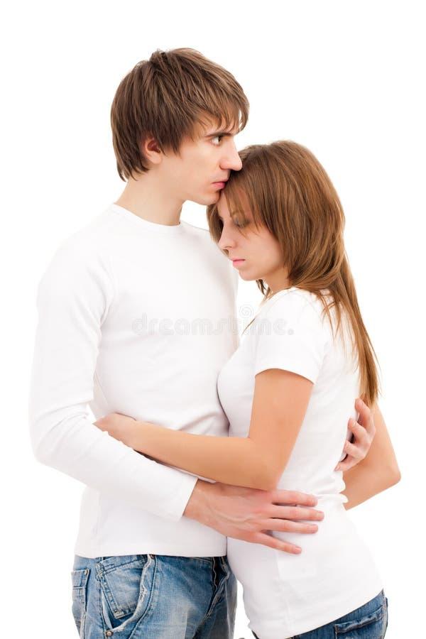 夫妇悲伤年轻人 免版税库存照片