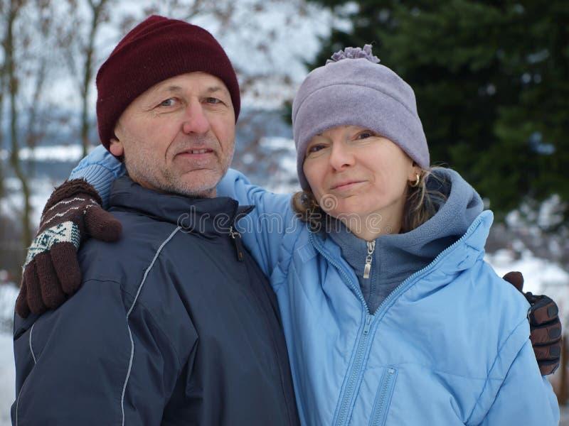 夫妇愉快的冬天 库存照片