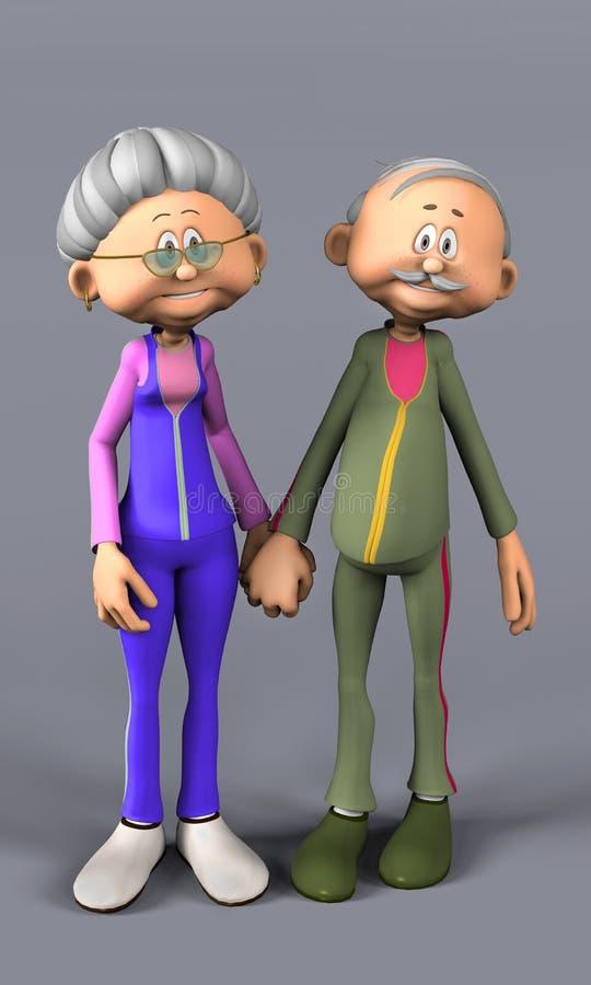夫妇愉快的前辈 向量例证