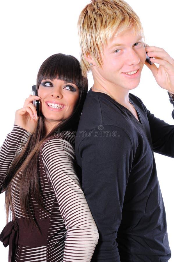 夫妇愉快的技术使用 免版税库存图片