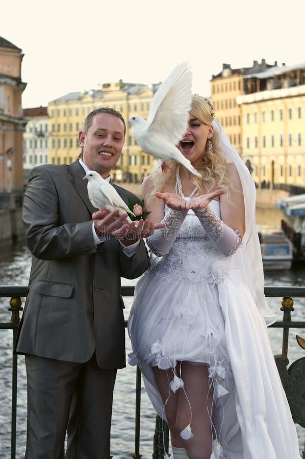 夫妇愉快的新婚佳偶年轻人 免版税图库摄影