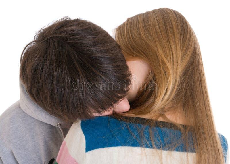 夫妇愉快的查出的空白年轻人 库存图片