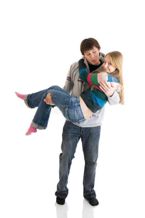 夫妇愉快的查出的空白年轻人 库存照片