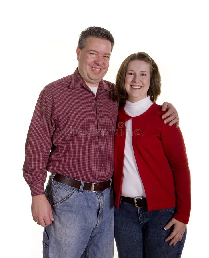 夫妇愉快的白色 图库摄影