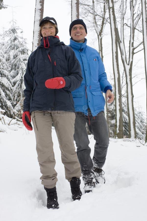 夫妇成熟雪走 免版税库存照片