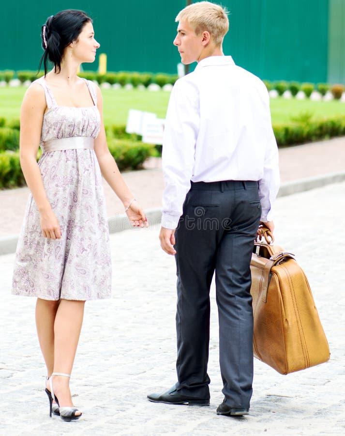 夫妇手提箱 免版税库存图片