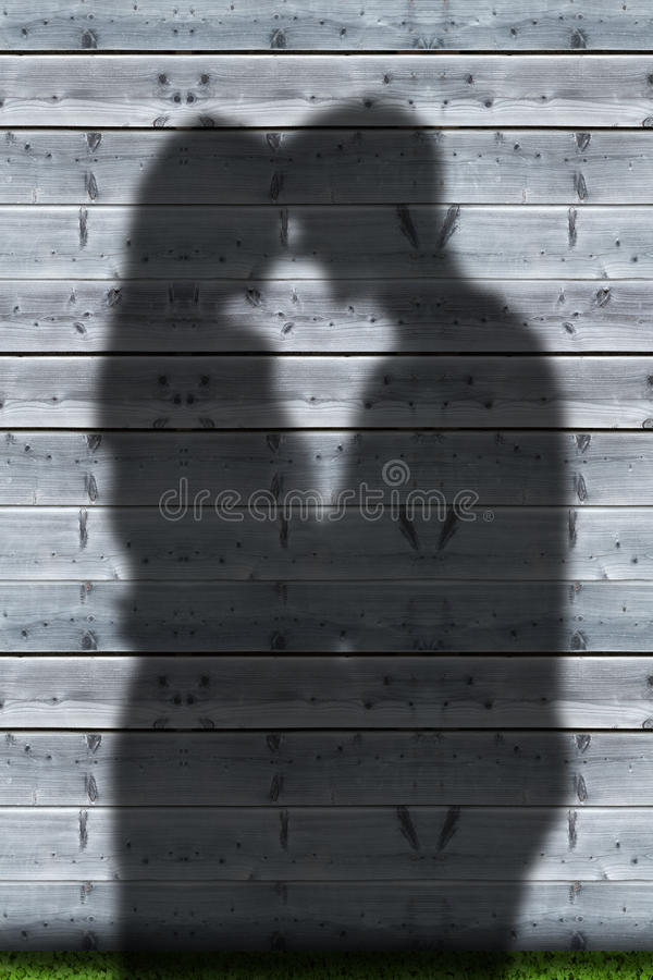 夫妇拥抱的阴影 免版税库存照片