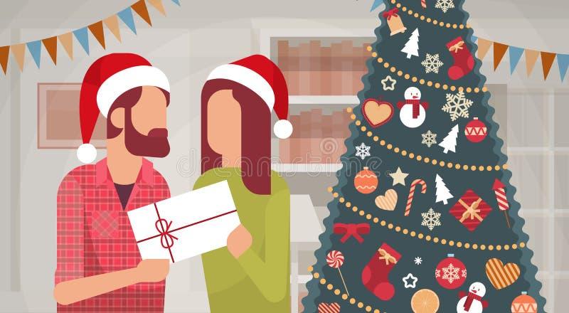 夫妇拿着礼物装饰的礼物新年圣诞快乐庆祝家内部杉树 向量例证