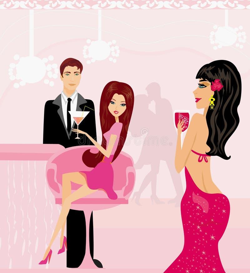 年轻夫妇挥动并且喝在俱乐部的香槟 向量例证