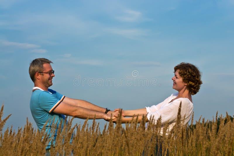 年轻夫妇握在草甸的手 库存照片