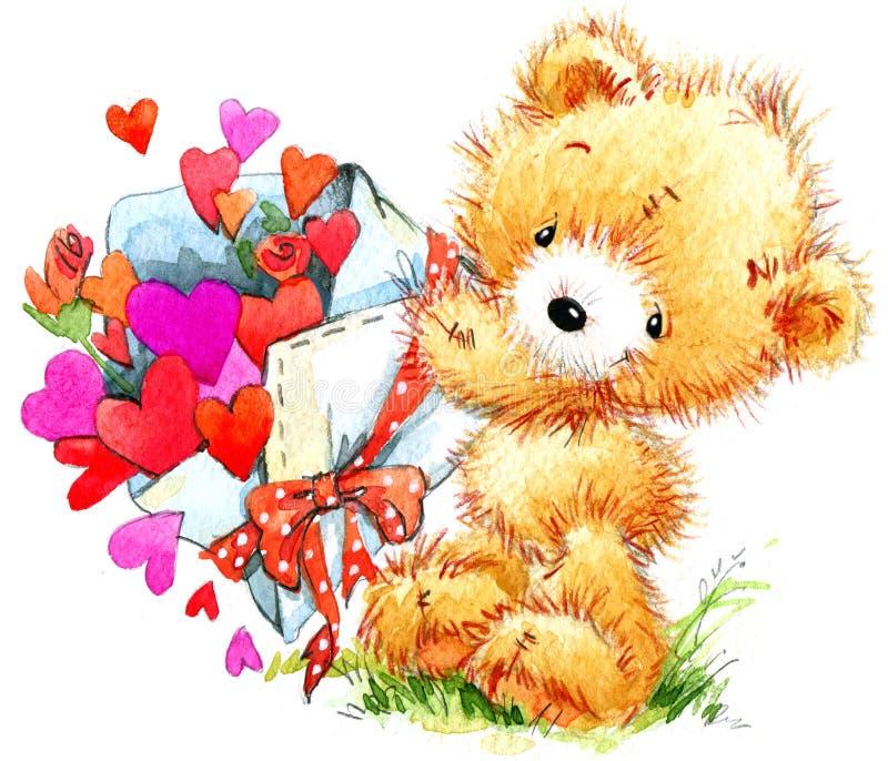 夫妇日例证爱恋的华伦泰向量 滑稽的玩具熊和红色心脏 向量例证