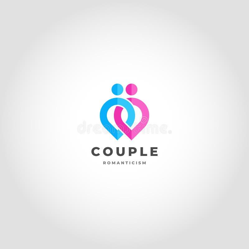 夫妇是关系商标连接了人的点概念 向量例证