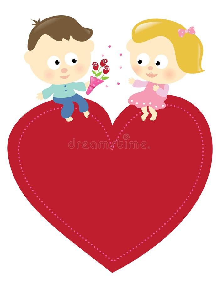 夫妇查出的浪漫符号 向量例证