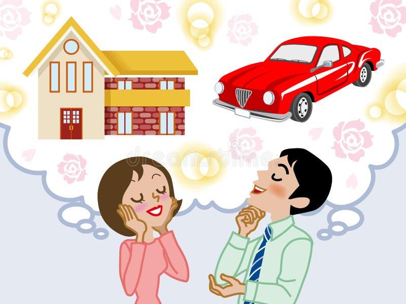 夫妇梦之家和汽车- EPS10 皇族释放例证