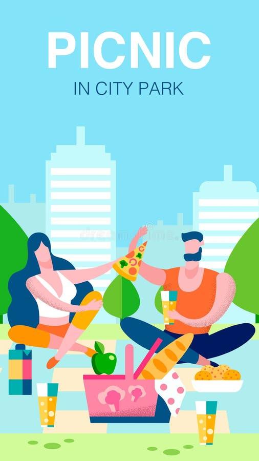 夫妇横幅的,海报模板浪漫野餐 库存例证