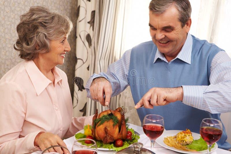 夫妇正餐 库存图片