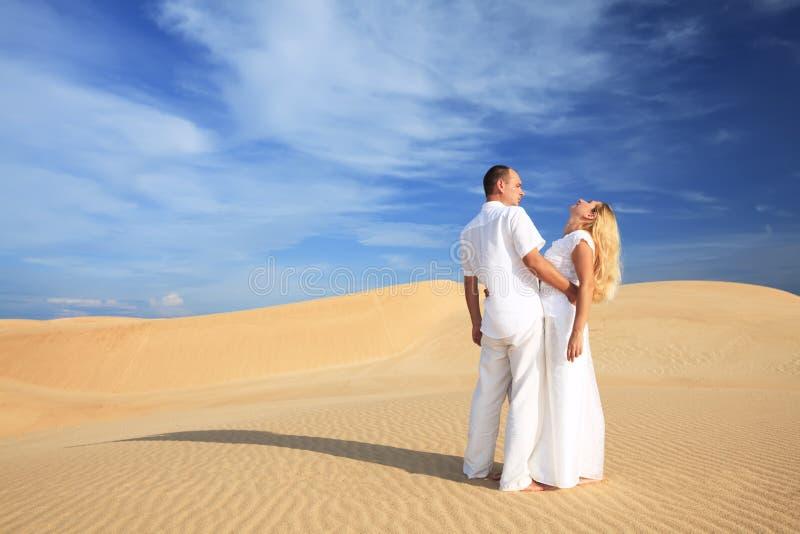 夫妇沙漠 库存照片