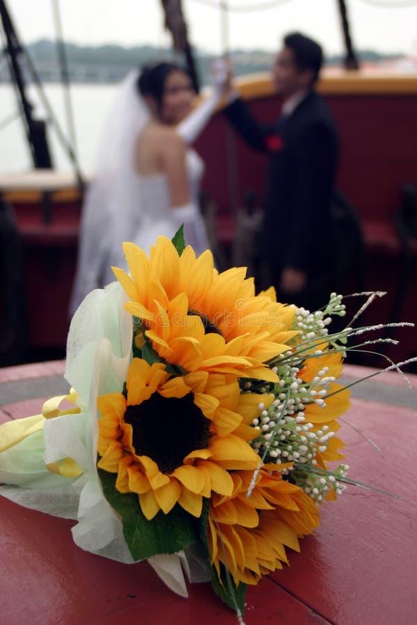 夫妇海盗船婚礼 库存照片
