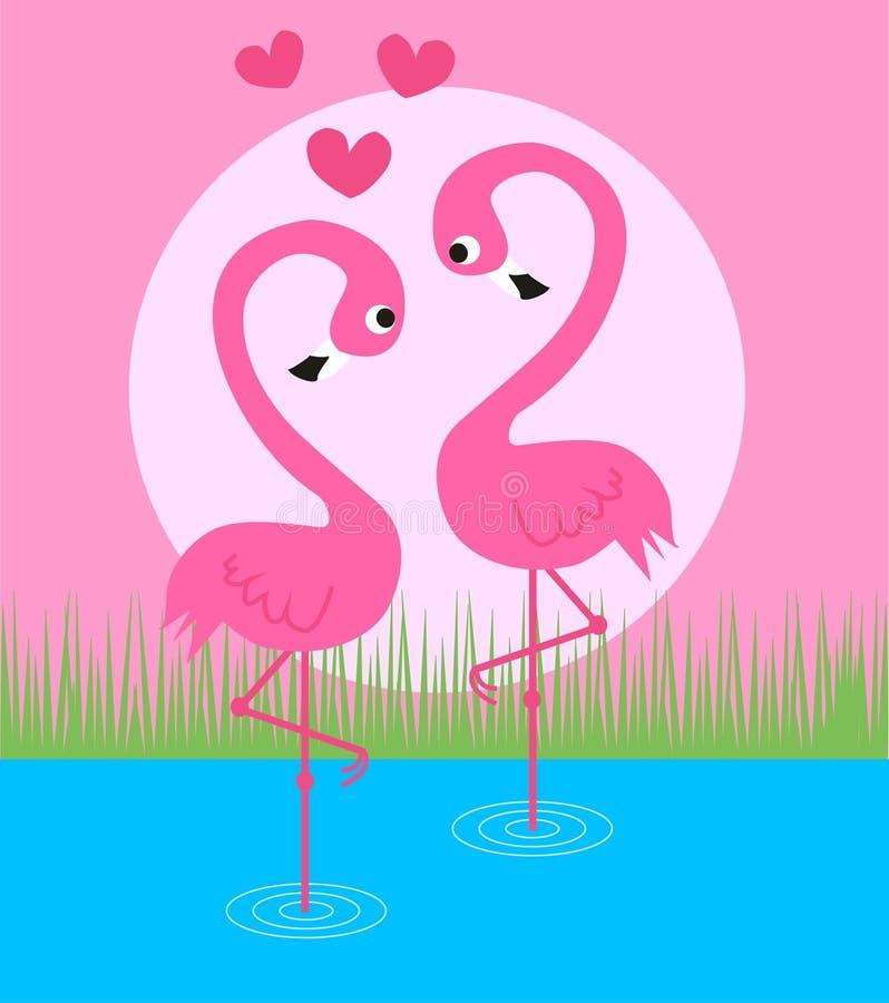 夫妇火鸟粉红色 库存例证