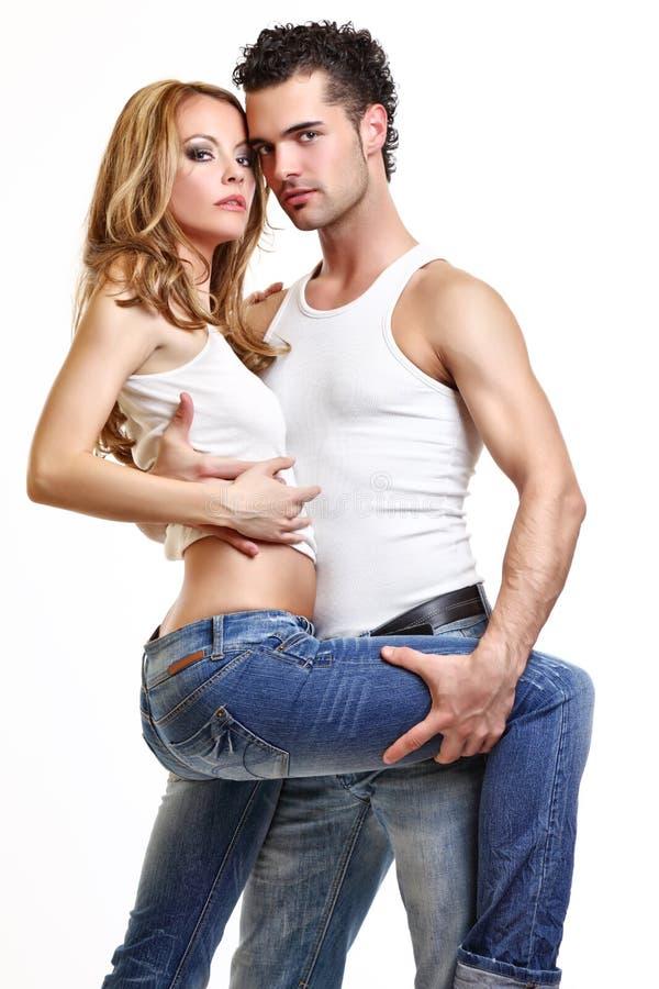 夫妇热情性感 免版税库存照片