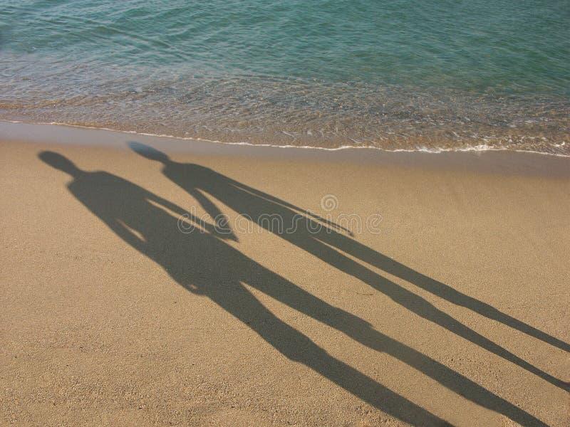 夫妇爱恋的影子 免版税库存照片