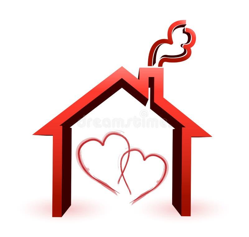 夫妇爱恋的房子例证设计观念 皇族释放例证
