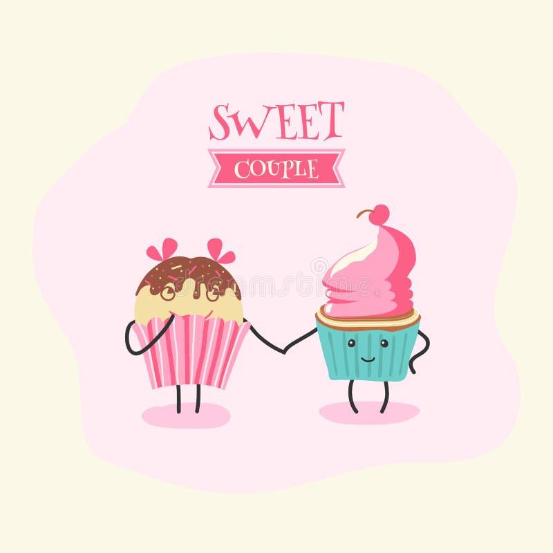 夫妇爱甜点 皇族释放例证