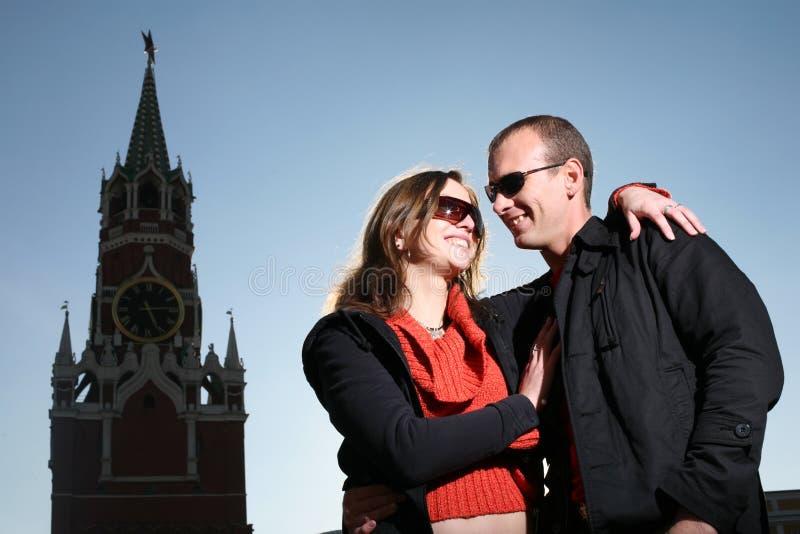 夫妇爱莫斯科年轻人 库存图片