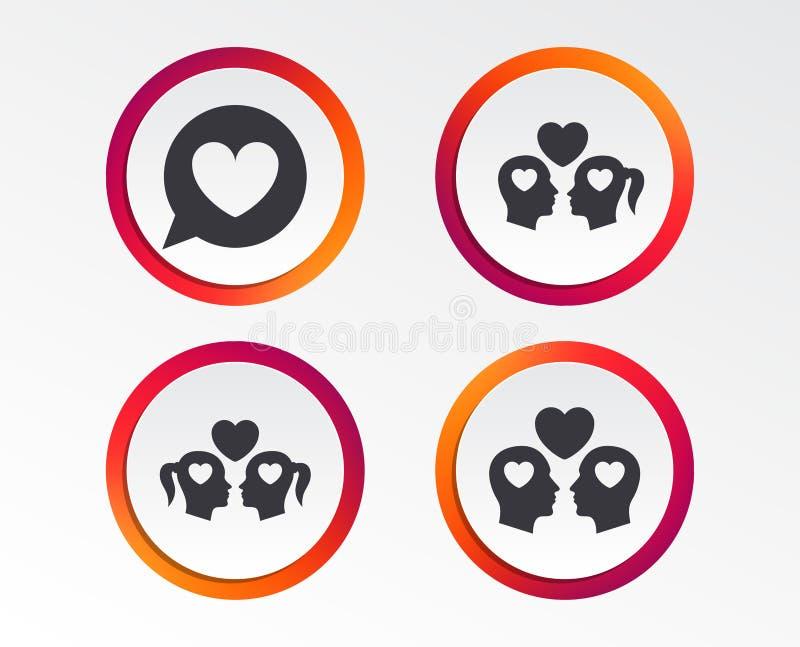 夫妇爱象 女同性恋和快乐恋人标志 库存例证