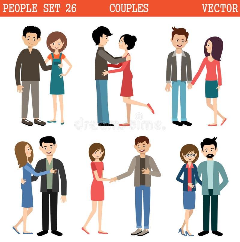 夫妇爱 背景蓝色系列愉快的人天空妇女 向量 向量例证