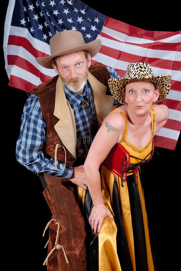 夫妇牛仔传统西部 库存图片