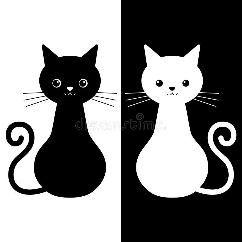 夫妇猫黑白颜色的传染媒介例证 爱情故事猫 向量例证