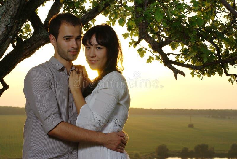 夫妇甜心在树下在夏天 免版税图库摄影