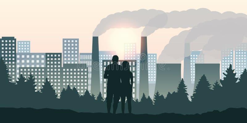 夫妇由产业看方向城市和污染 向量例证