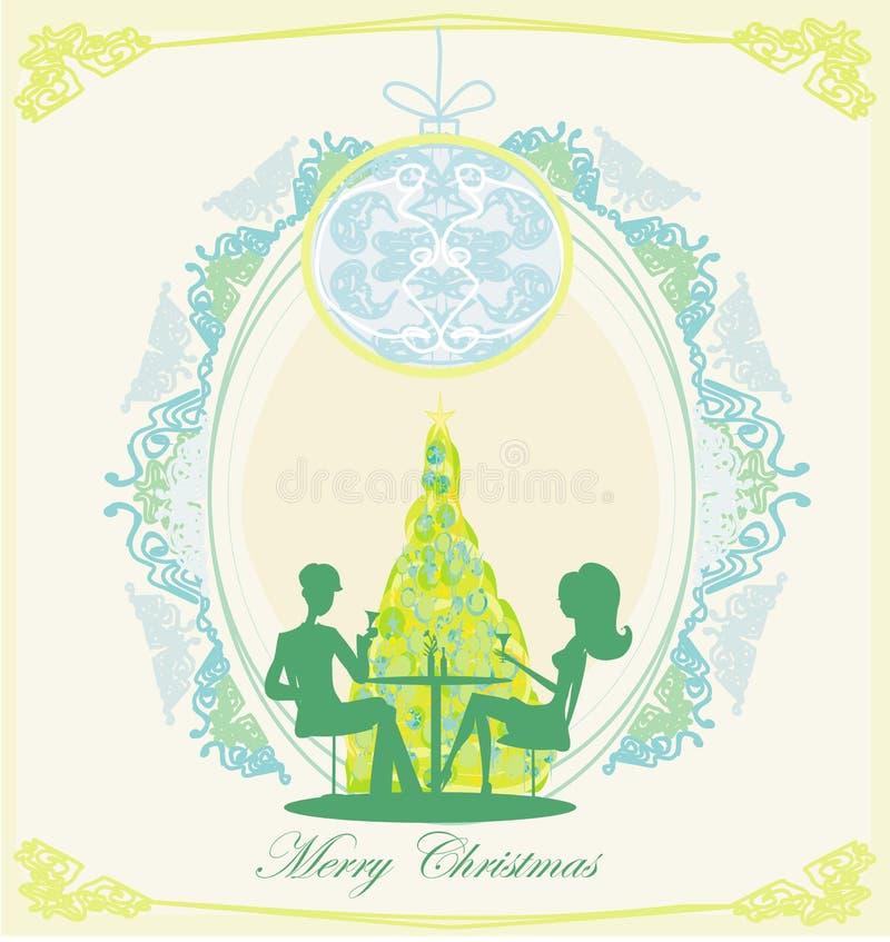 年轻夫妇由圣诞树挥动并且喝香槟近 库存例证