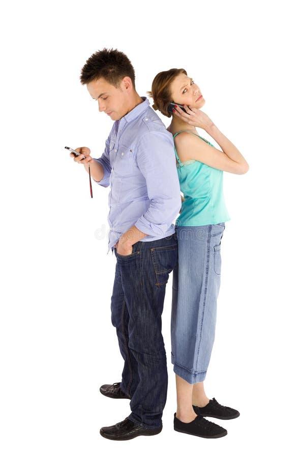 夫妇电话 库存图片