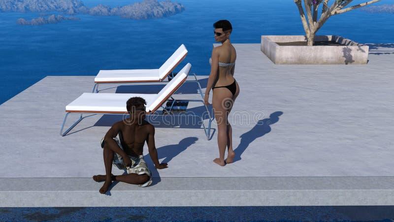 夫妇的例证谈话在一个水池附近在度假 向量例证
