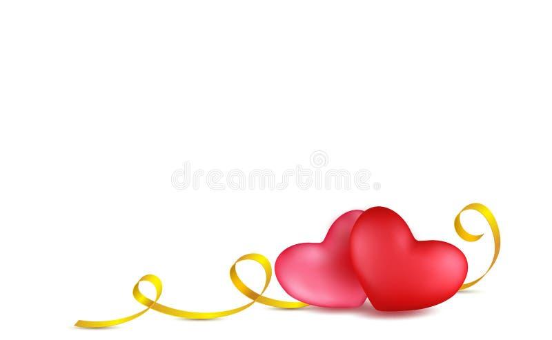 夫妇红色,上升了与金黄书法条纹的心脏 替换 情人节在3d样式的贺卡设计在白色 库存例证