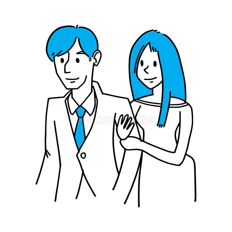 夫妇约会、商人和女朋友,爱在办公室co 库存例证