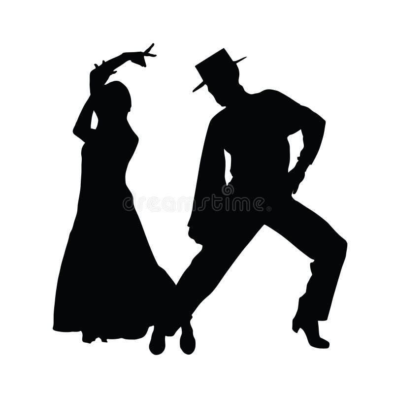 夫妇舞蹈传染媒介艺术剪影 库存照片
