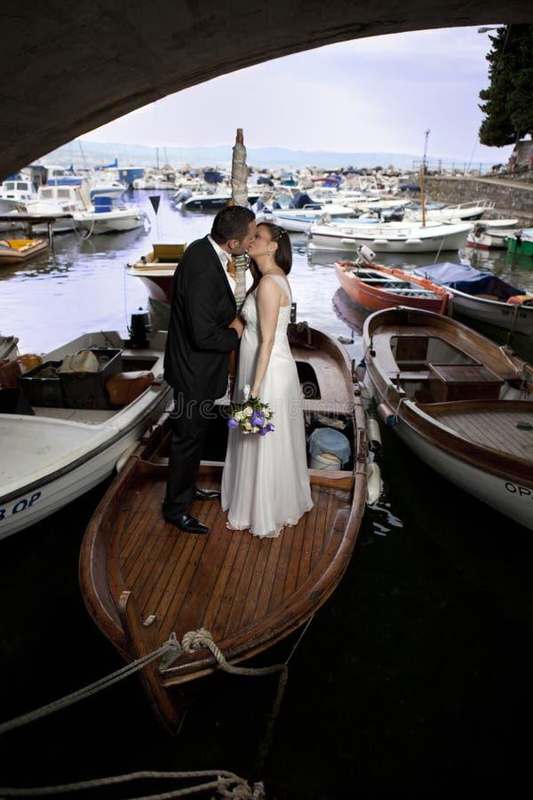 夫妇船婚礼 免版税图库摄影