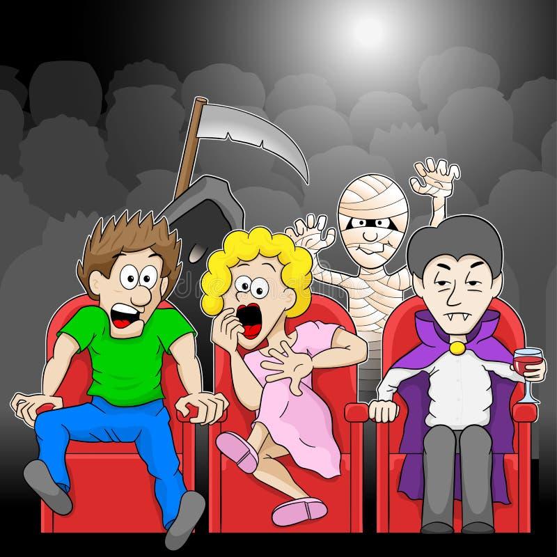 夫妇观看在戏院的一部恐怖片电影 皇族释放例证