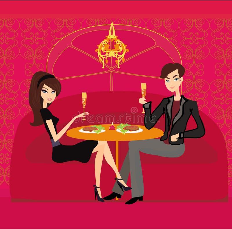 年轻夫妇调情的人和饮料香槟 皇族释放例证