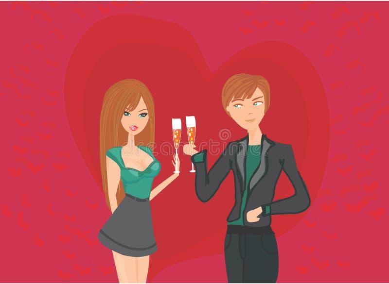 年轻夫妇调情的人和饮料 向量例证