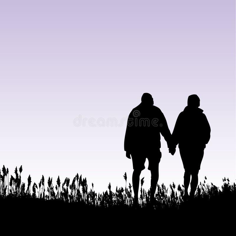 夫妇走 免版税图库摄影