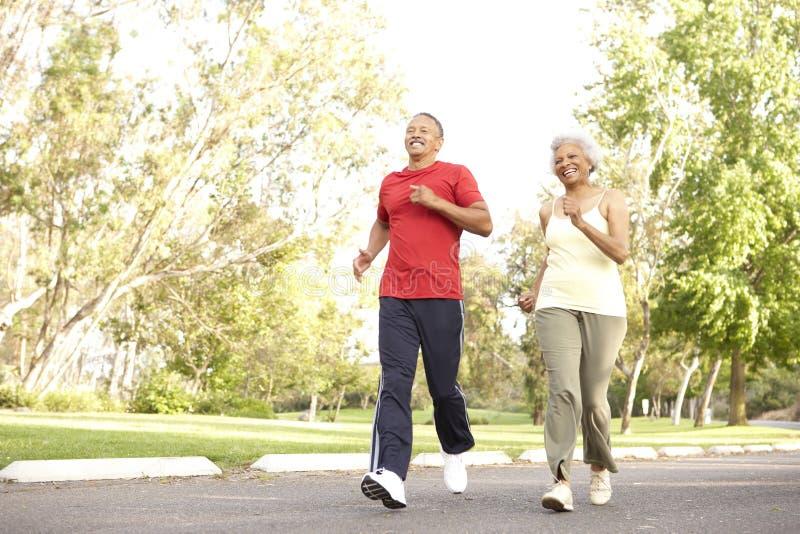 夫妇跑步的公园前辈 免版税图库摄影