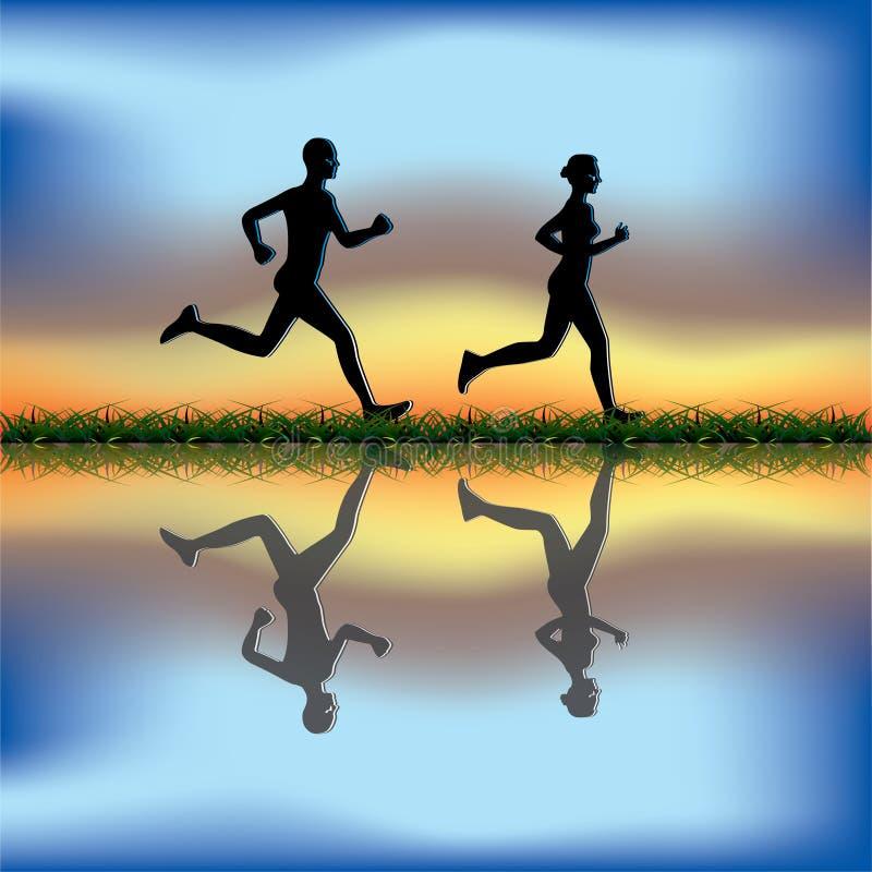 夫妇跑步 向量例证